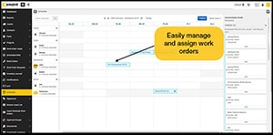 Screenshot of emaint CMMS showing how users can easily manage and assign work orders